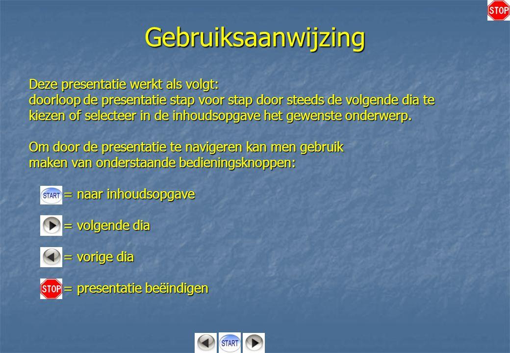 Gebruiksaanwijzing Deze presentatie werkt als volgt: