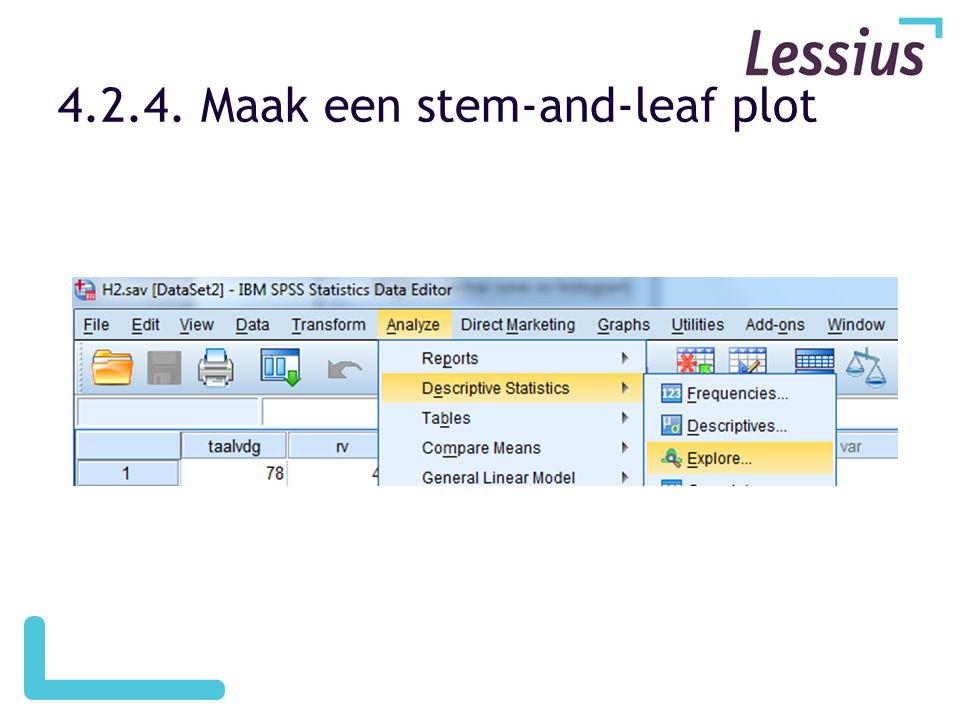 Maak een stem-and-leaf plot
