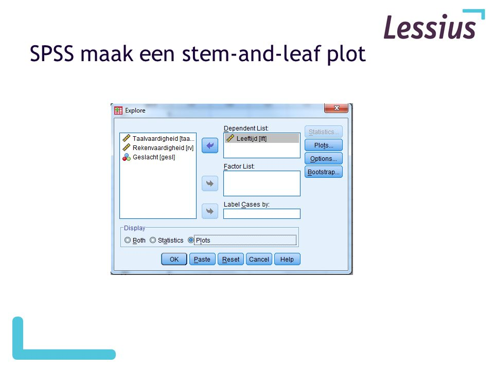 SPSS maak een stem-and-leaf plot