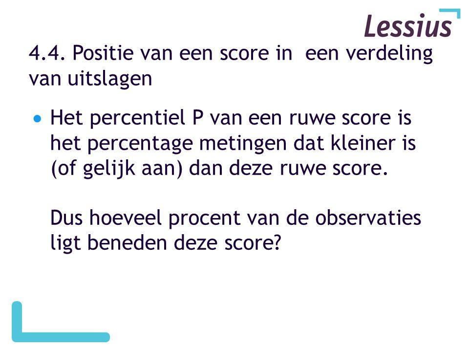 4.4. Positie van een score in een verdeling van uitslagen