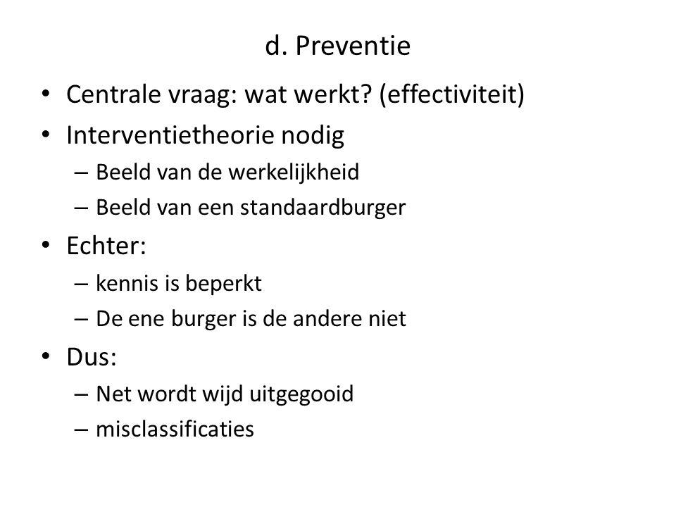 d. Preventie Centrale vraag: wat werkt (effectiviteit)