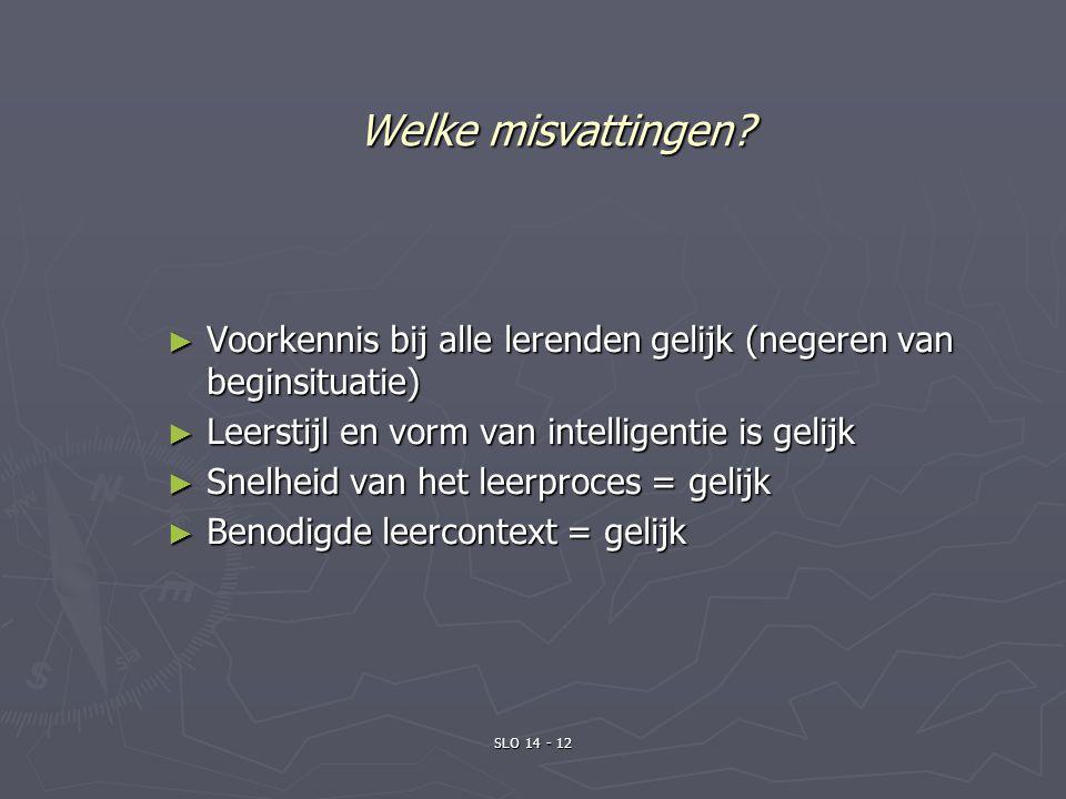 Welke misvattingen Voorkennis bij alle lerenden gelijk (negeren van beginsituatie) Leerstijl en vorm van intelligentie is gelijk.