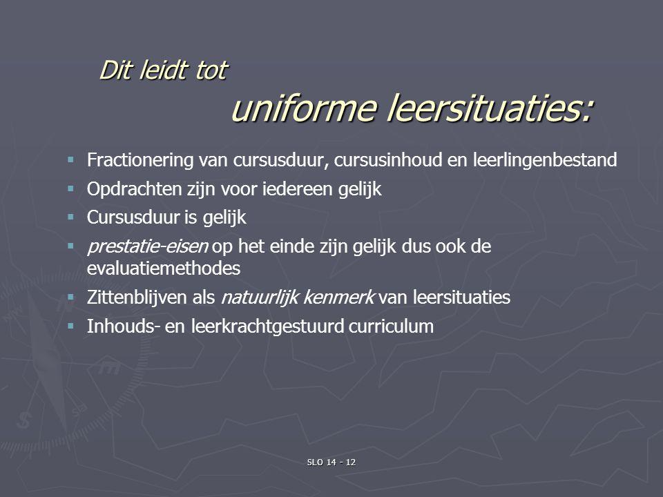 Dit leidt tot uniforme leersituaties: