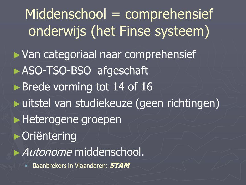Middenschool = comprehensief onderwijs (het Finse systeem)