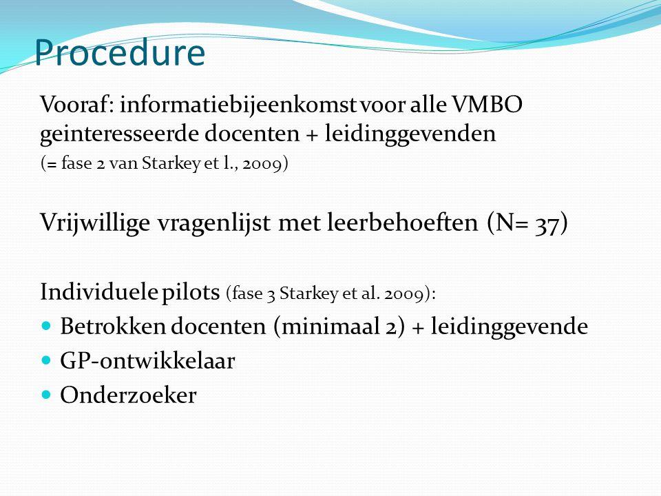 Procedure Vrijwillige vragenlijst met leerbehoeften (N= 37)