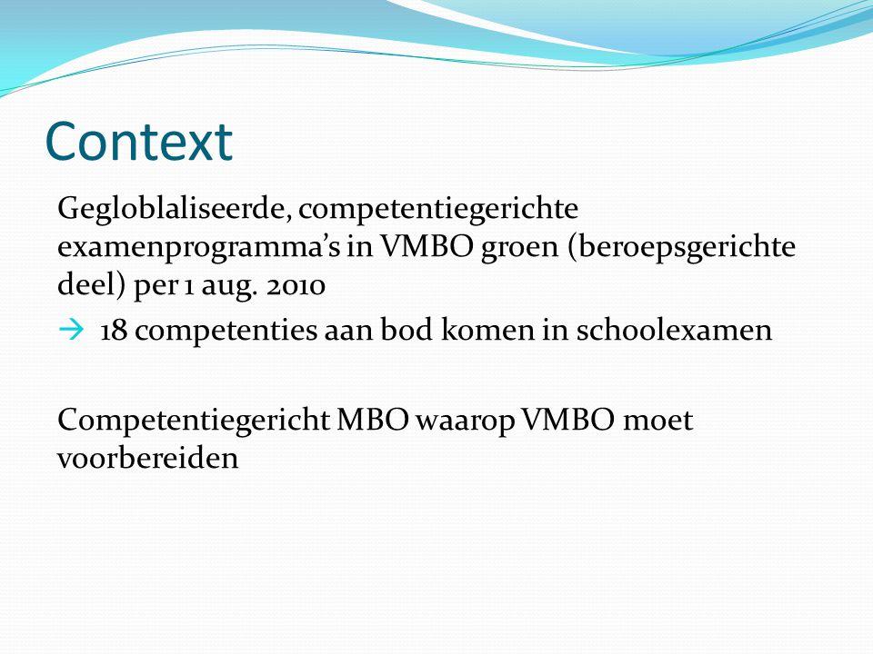 Context Gegloblaliseerde, competentiegerichte examenprogramma's in VMBO groen (beroepsgerichte deel) per 1 aug. 2010.