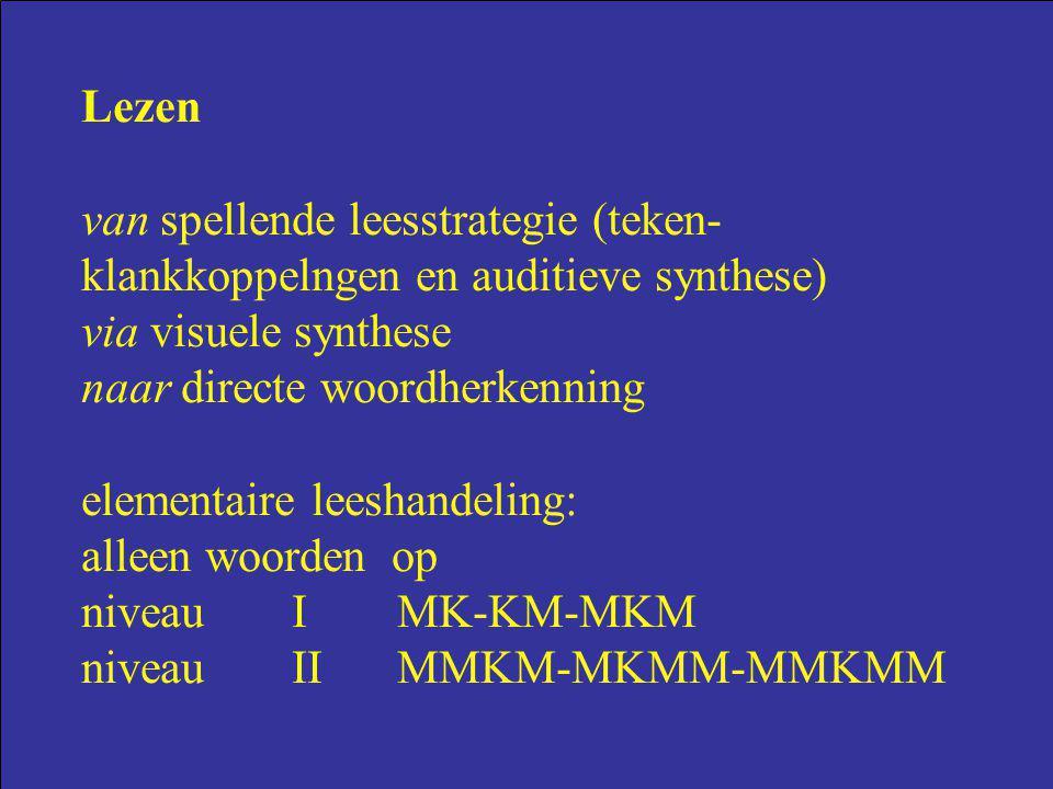 Lezen van spellende leesstrategie (teken-klankkoppelngen en auditieve synthese) via visuele synthese.