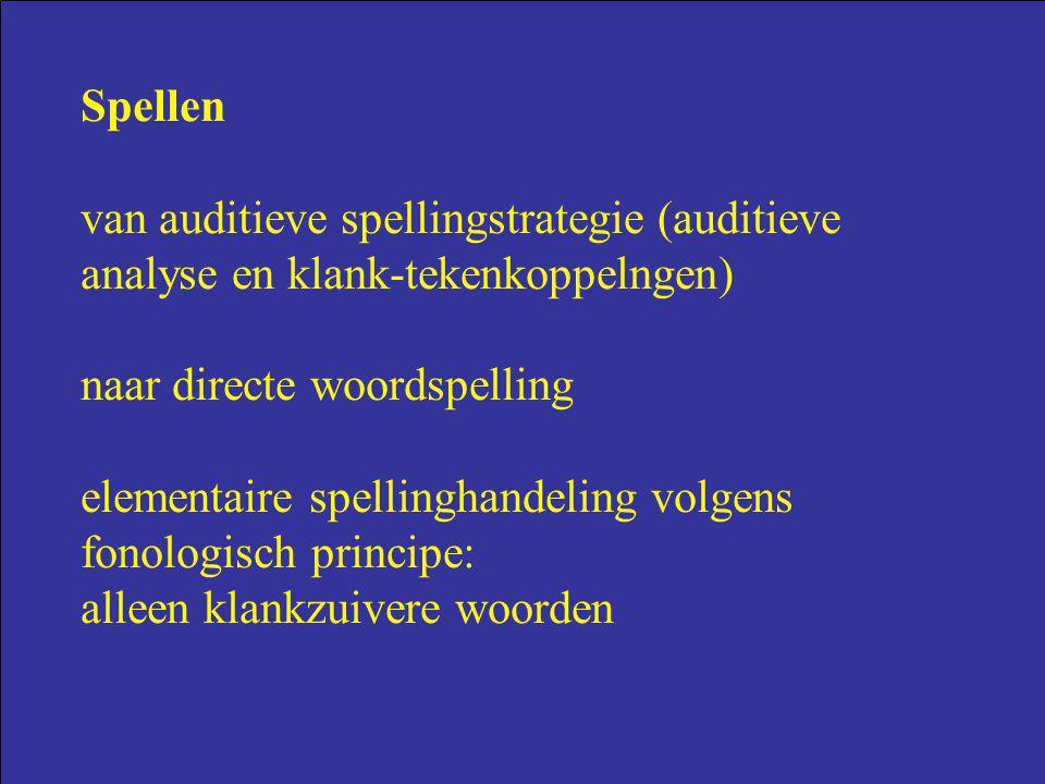 Spellen van auditieve spellingstrategie (auditieve analyse en klank-tekenkoppelngen) naar directe woordspelling.