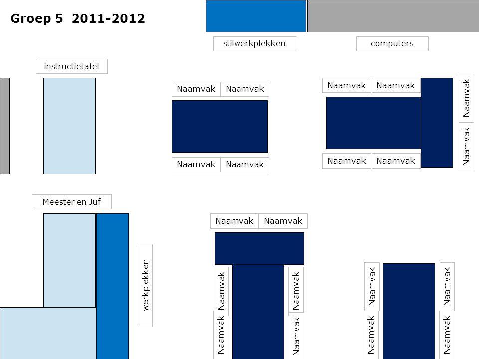 Groep 5 2011-2012 stilwerkplekken computers instructietafel Naamvak