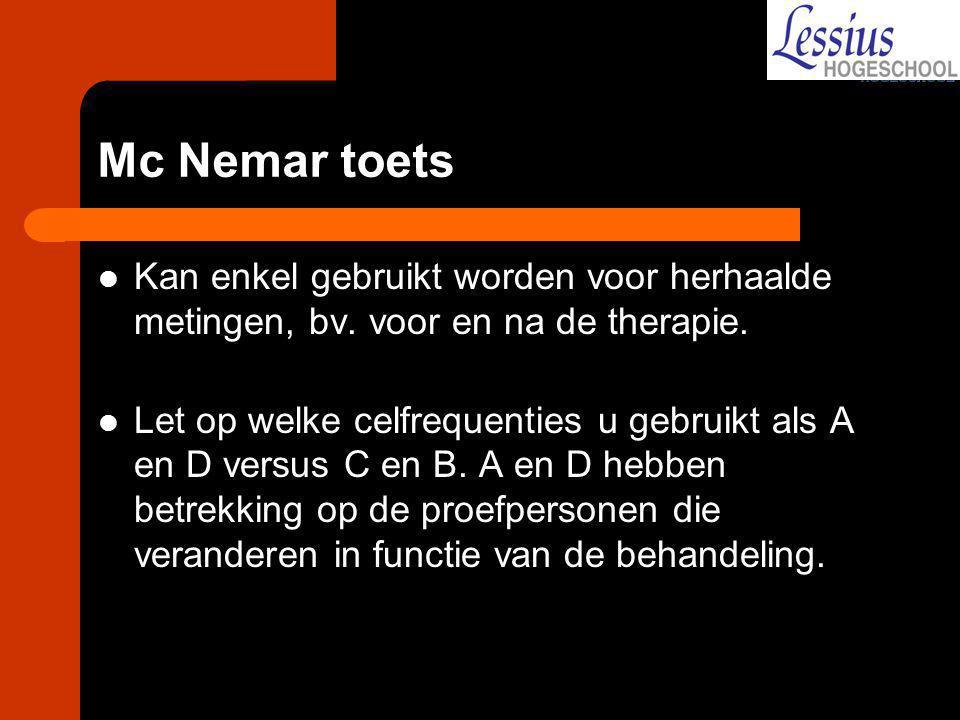 Mc Nemar toets Kan enkel gebruikt worden voor herhaalde metingen, bv. voor en na de therapie.