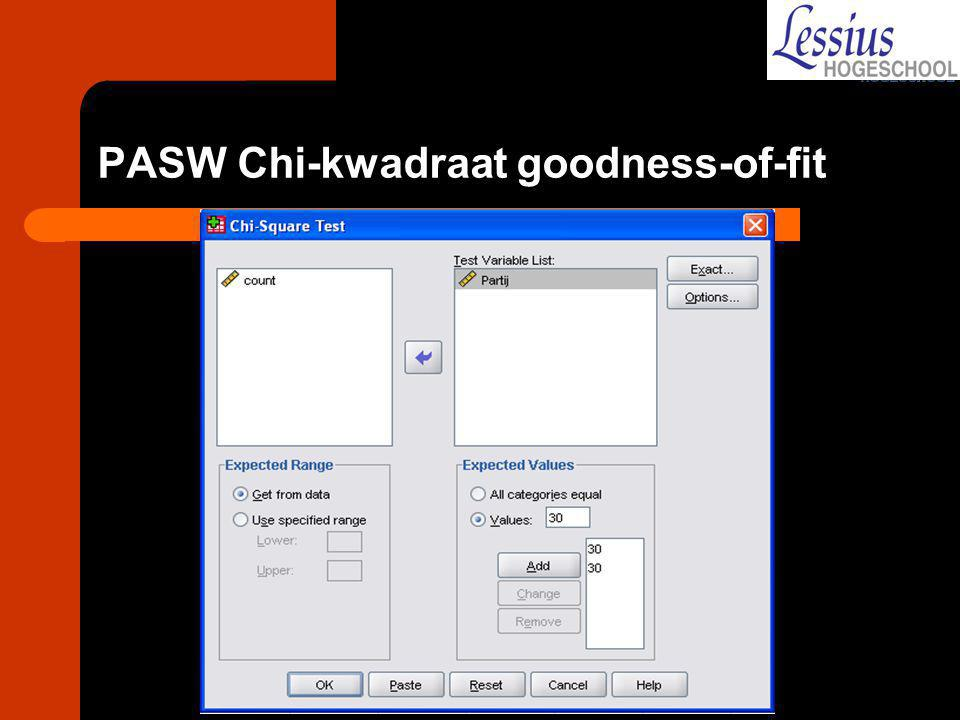 PASW Chi-kwadraat goodness-of-fit