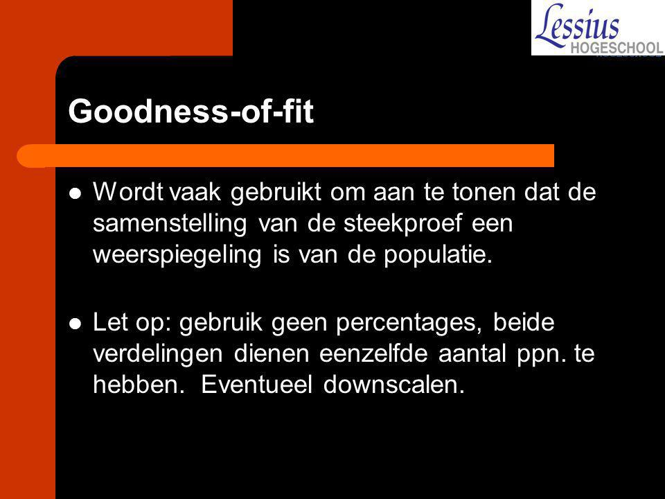 Goodness-of-fit Wordt vaak gebruikt om aan te tonen dat de samenstelling van de steekproef een weerspiegeling is van de populatie.