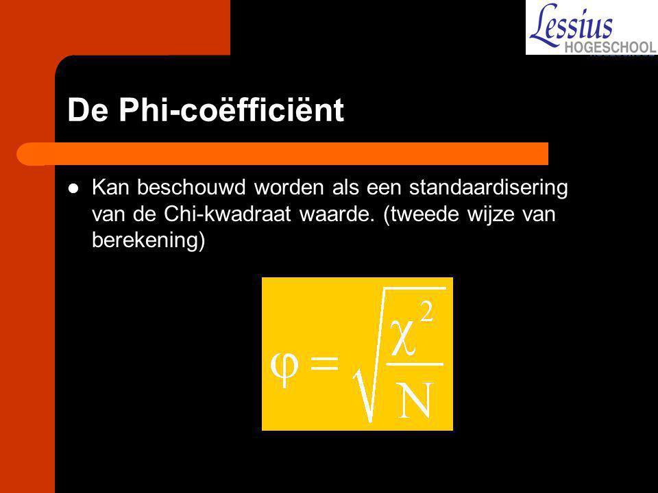 De Phi-coëfficiënt Kan beschouwd worden als een standaardisering van de Chi-kwadraat waarde.