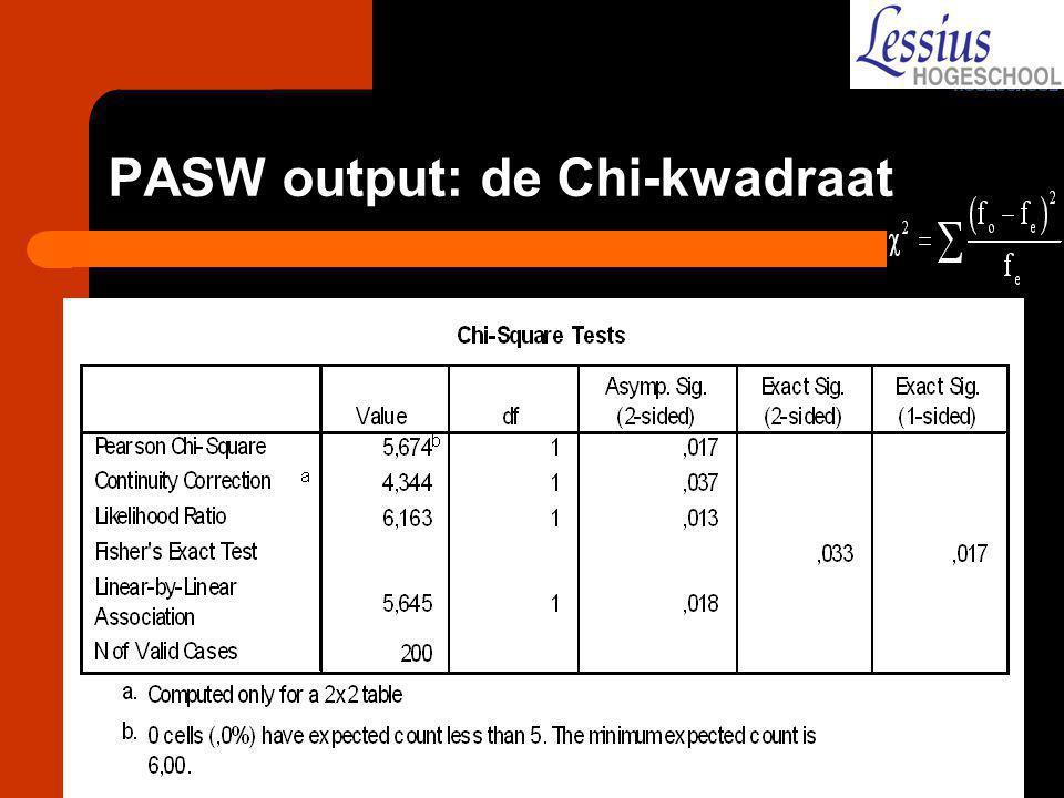 PASW output: de Chi-kwadraat