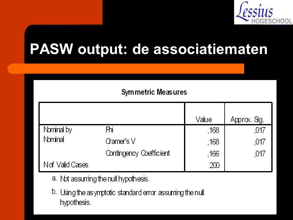 PASW output: de associatiematen