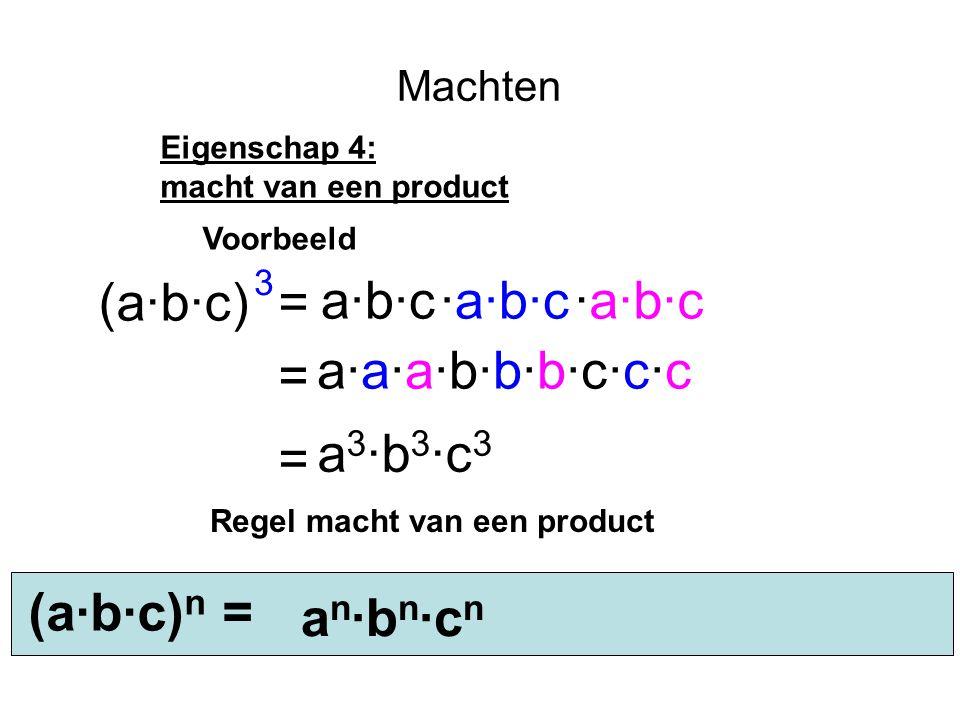3 (a·b·c) = a·b·c ·a·b·c ·a·b·c = a·a·a·b·b·b·c·c·c = a3·b3·c3