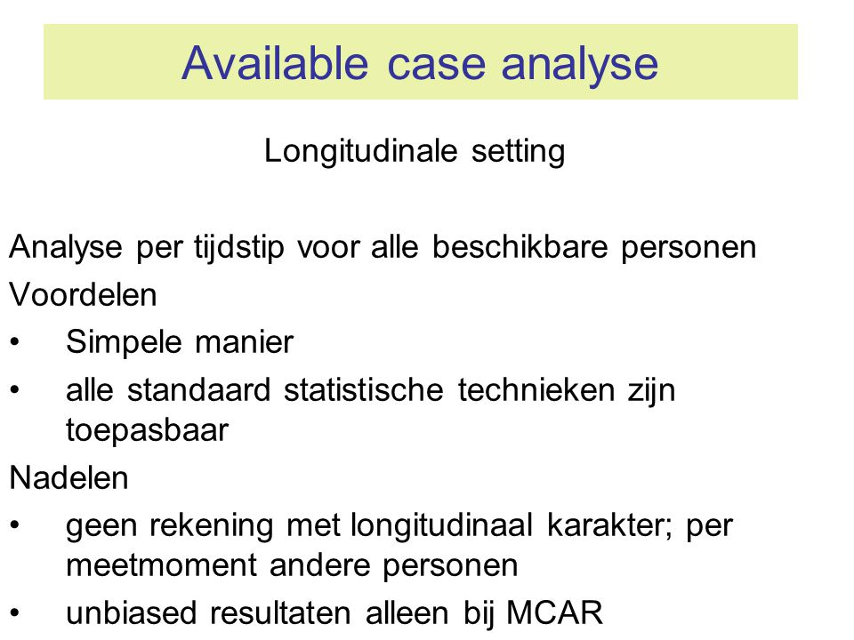 Available case analyse