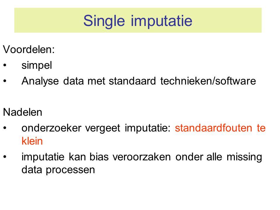Single imputatie Voordelen: simpel