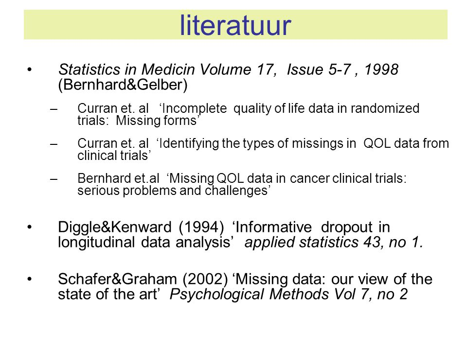 literatuur Statistics in Medicin Volume 17, Issue 5-7 , 1998 (Bernhard&Gelber)