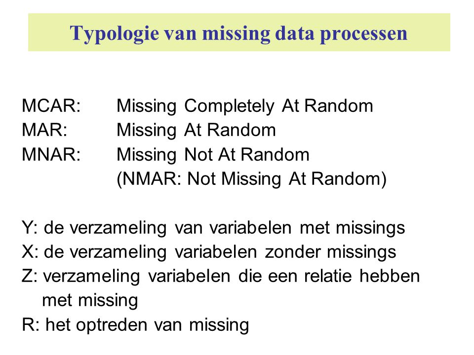 Typologie van missing data processen