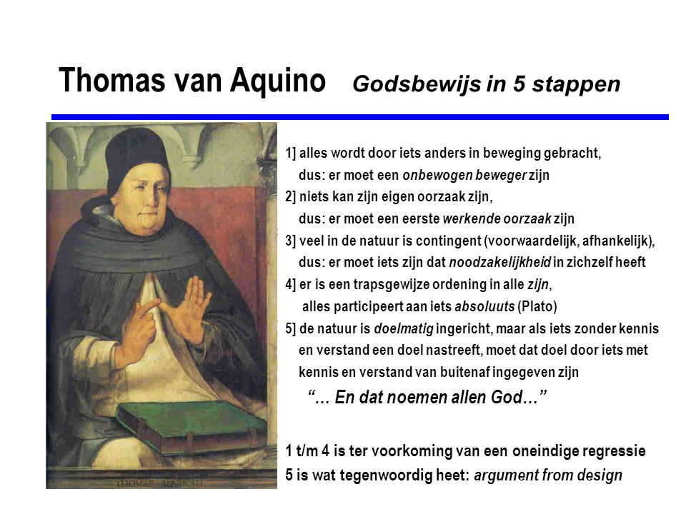 Thomas van Aquino Godsbewijs in 5 stappen