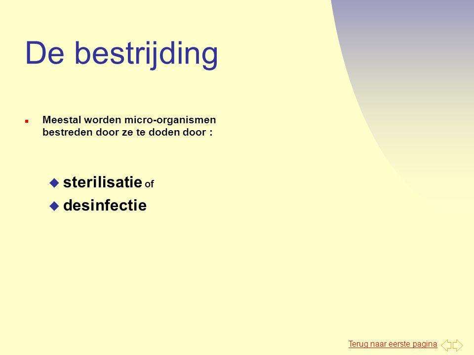 De bestrijding sterilisatie of desinfectie