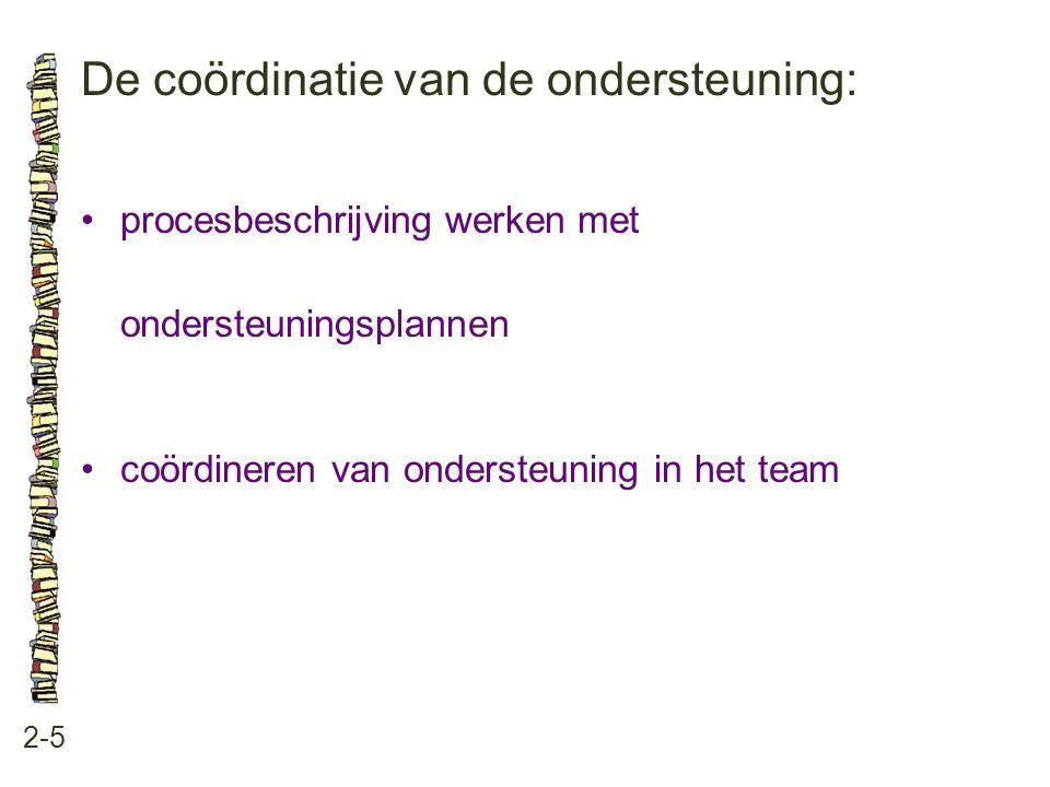 De coördinatie van de ondersteuning: