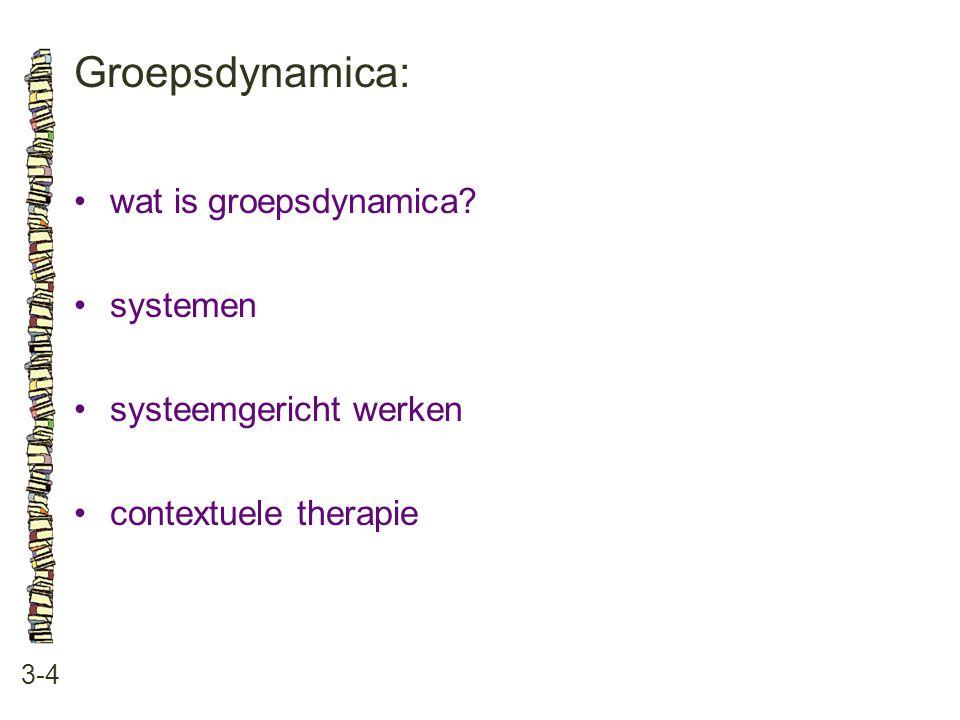 Groepsdynamica: • wat is groepsdynamica • systemen