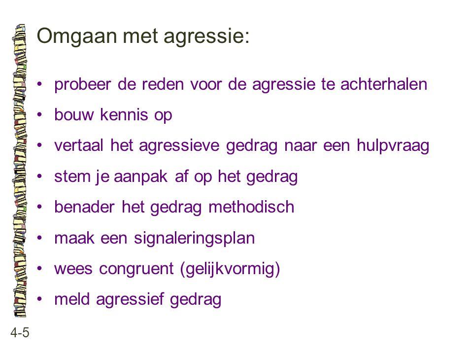 Omgaan met agressie: • probeer de reden voor de agressie te achterhalen. • bouw kennis op. • vertaal het agressieve gedrag naar een hulpvraag.