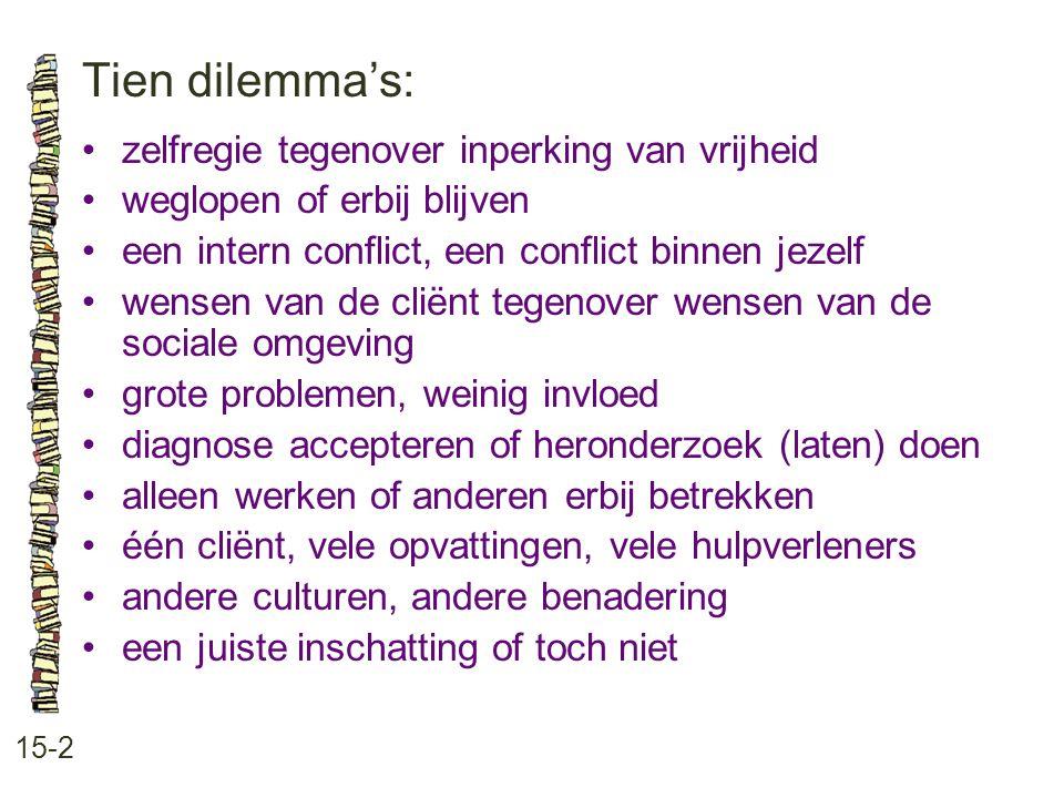 Tien dilemma's: • zelfregie tegenover inperking van vrijheid