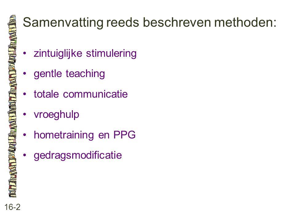 Samenvatting reeds beschreven methoden: