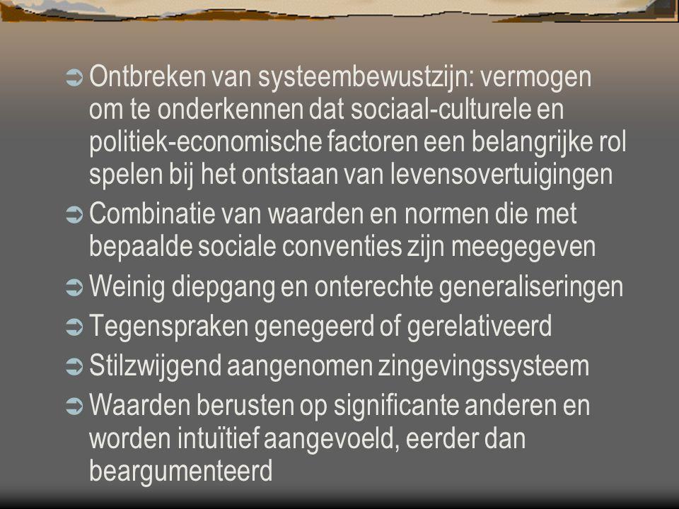 Ontbreken van systeembewustzijn: vermogen om te onderkennen dat sociaal-culturele en politiek-economische factoren een belangrijke rol spelen bij het ontstaan van levensovertuigingen