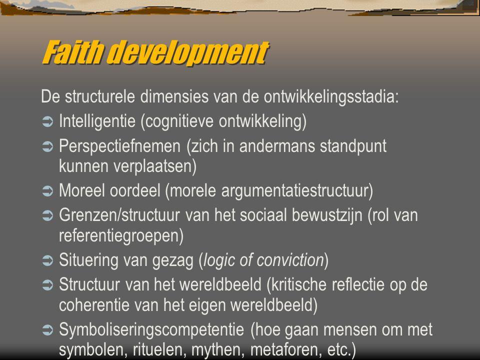 Faith development De structurele dimensies van de ontwikkelingsstadia: