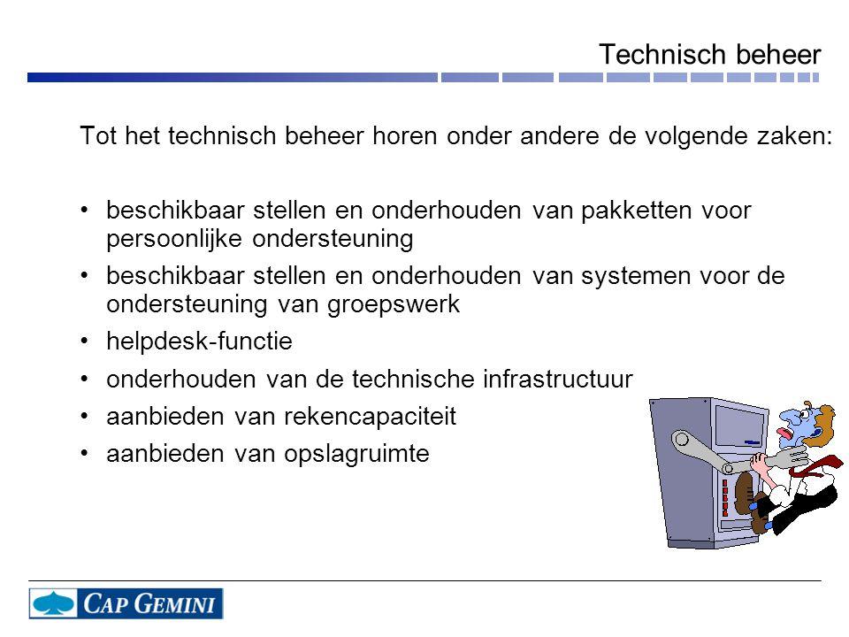 Technisch beheer Tot het technisch beheer horen onder andere de volgende zaken: