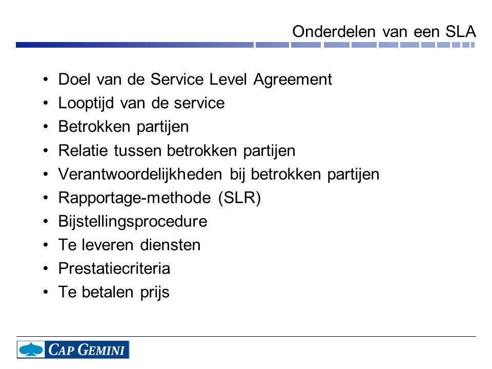 Onderdelen van een SLA Doel van de Service Level Agreement. Looptijd van de service. Betrokken partijen.