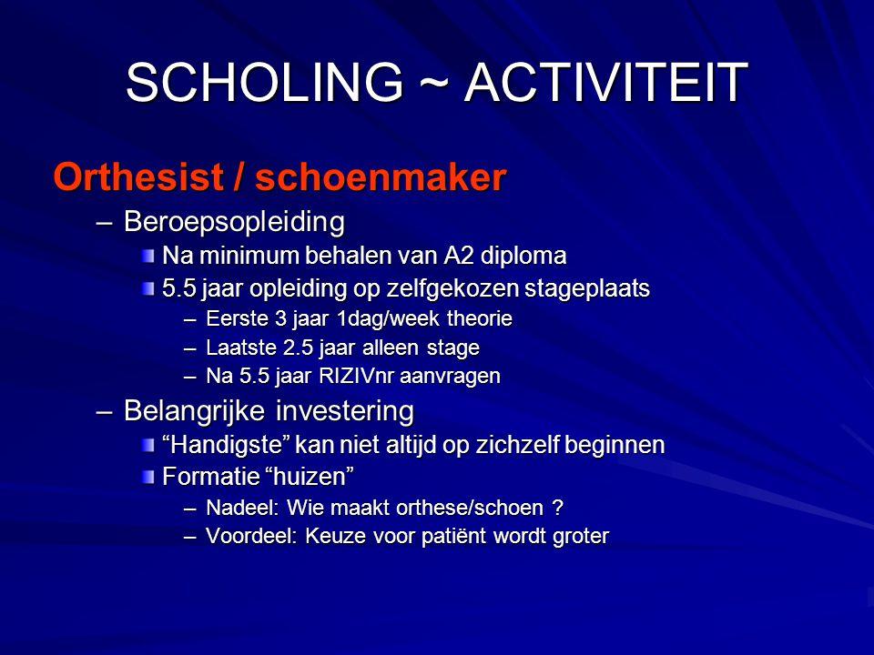 SCHOLING ~ ACTIVITEIT Orthesist / schoenmaker Beroepsopleiding