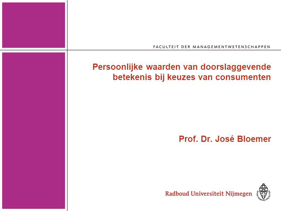 Persoonlijke waarden van doorslaggevende betekenis bij keuzes van consumenten Prof. Dr. José Bloemer