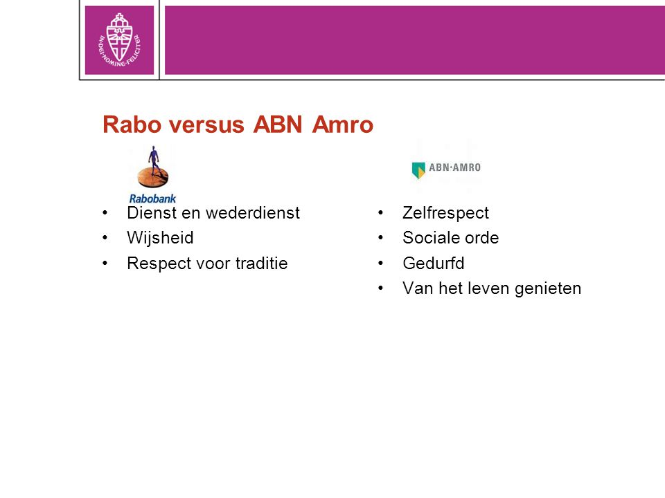 Rabo versus ABN Amro Dienst en wederdienst Wijsheid