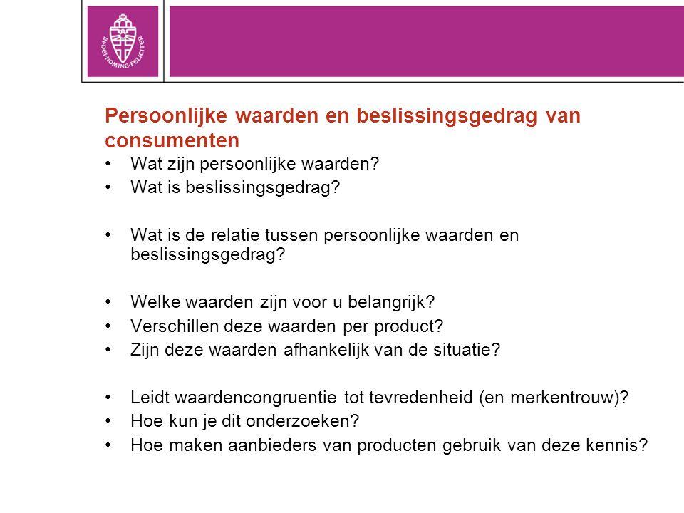 Persoonlijke waarden en beslissingsgedrag van consumenten
