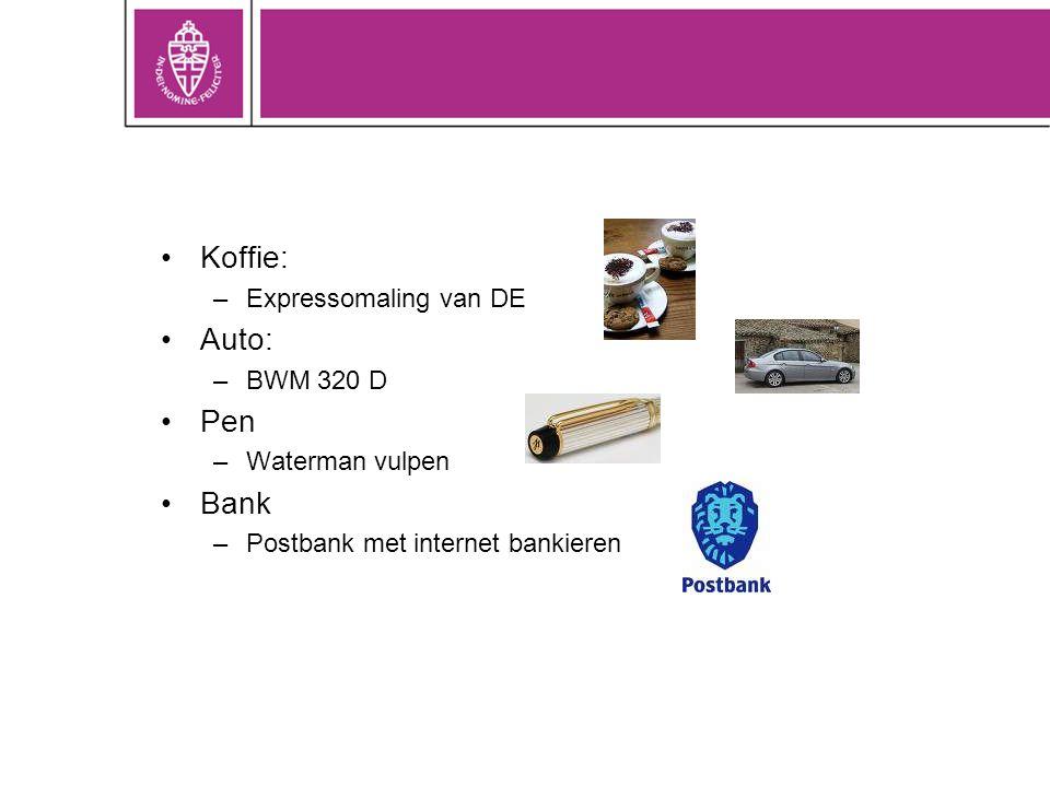 Koffie: Auto: Pen Bank Expressomaling van DE BWM 320 D Waterman vulpen