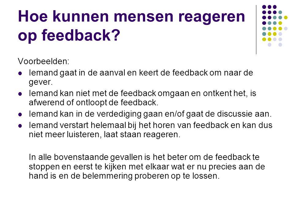 Hoe kunnen mensen reageren op feedback