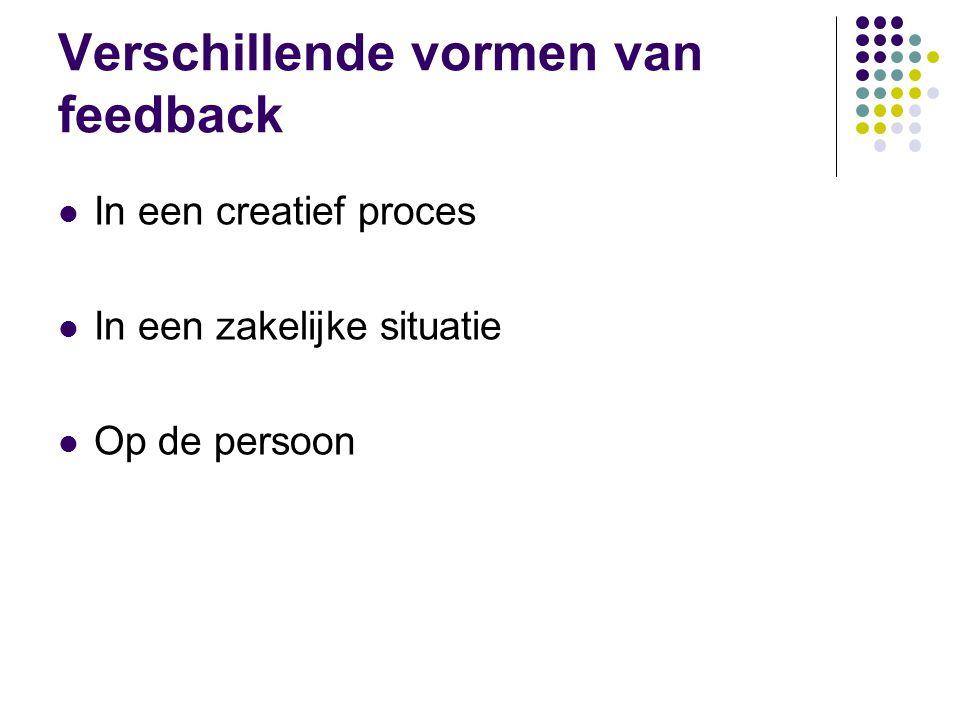Verschillende vormen van feedback