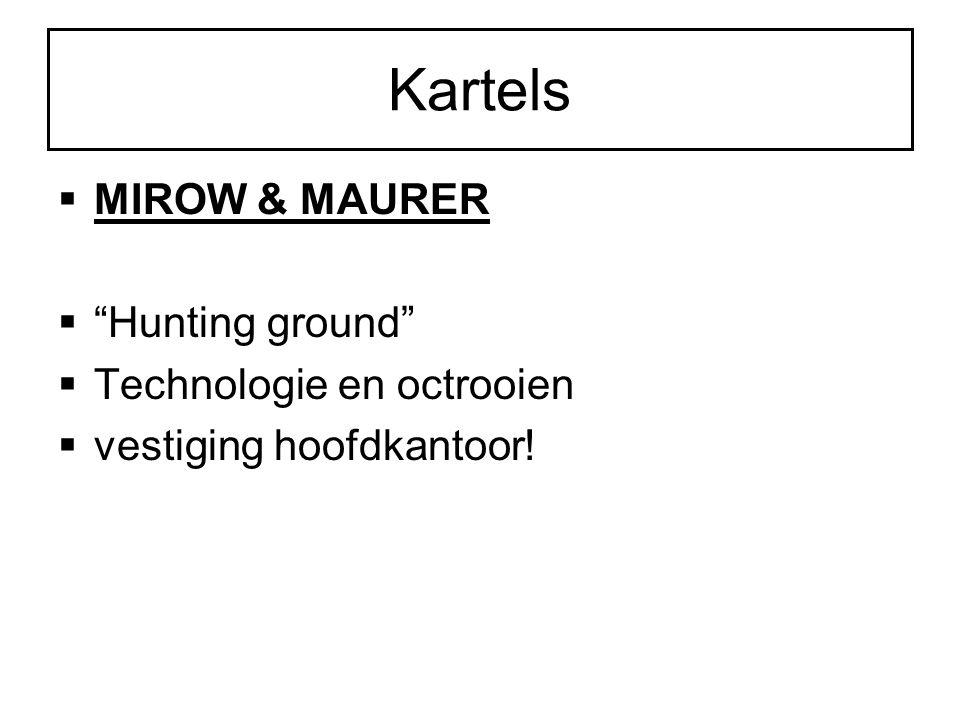 Kartels MIROW & MAURER Hunting ground Technologie en octrooien