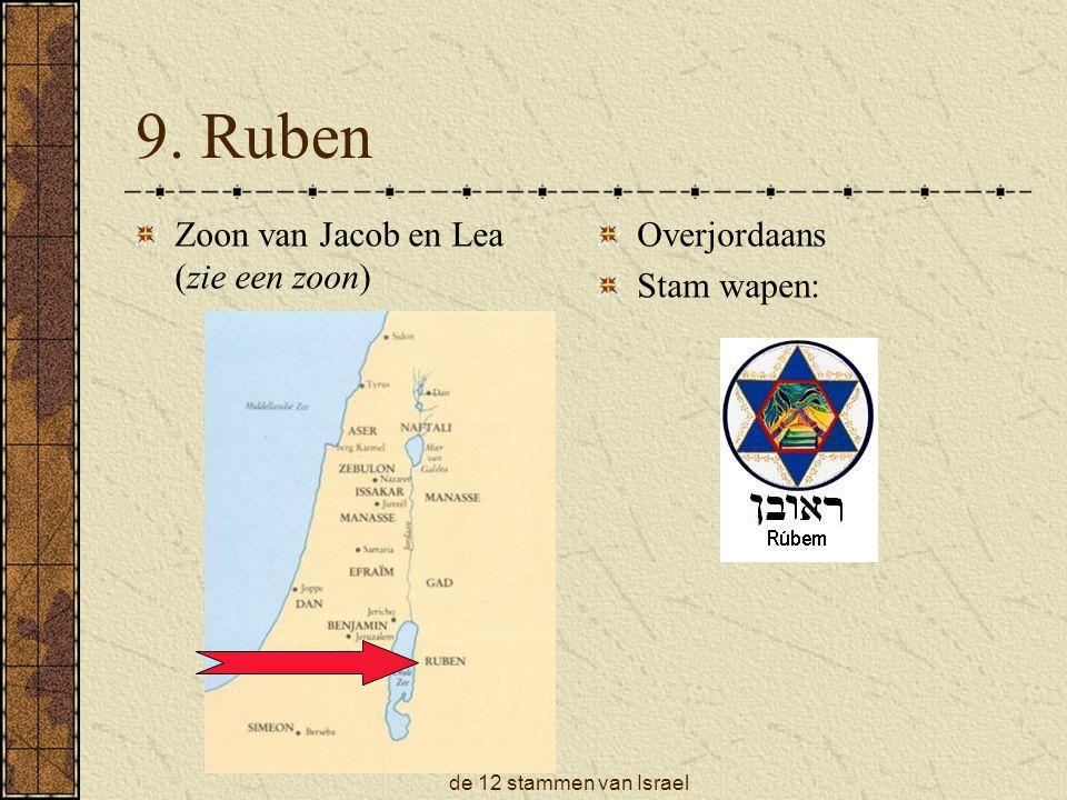 9. Ruben Zoon van Jacob en Lea (zie een zoon) Overjordaans Stam wapen: