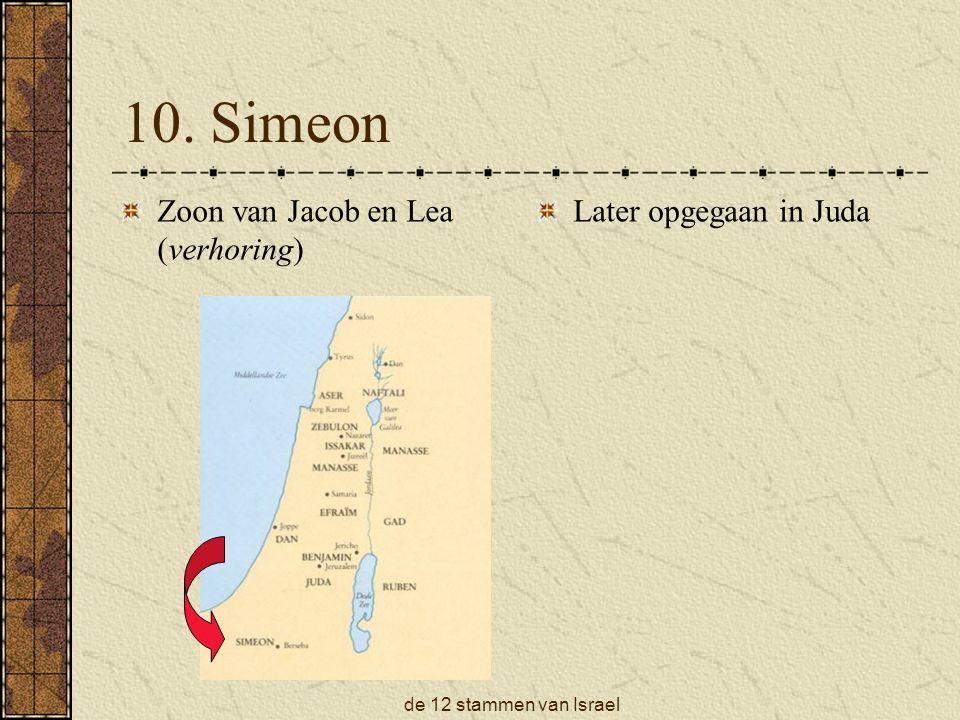 10. Simeon Zoon van Jacob en Lea (verhoring) Later opgegaan in Juda