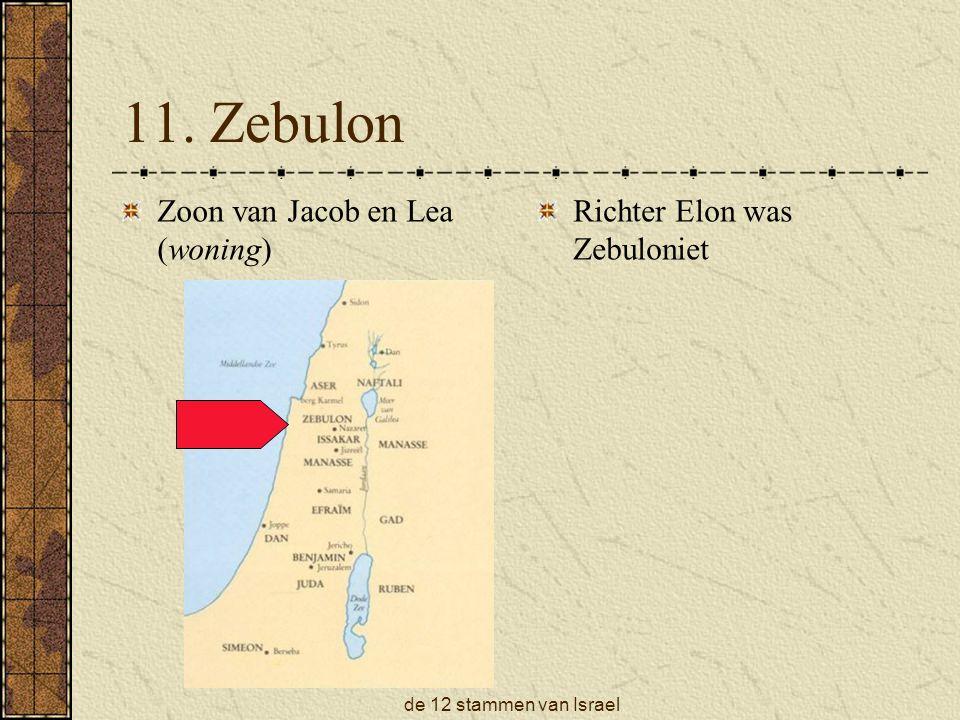 11. Zebulon Zoon van Jacob en Lea (woning) Richter Elon was Zebuloniet
