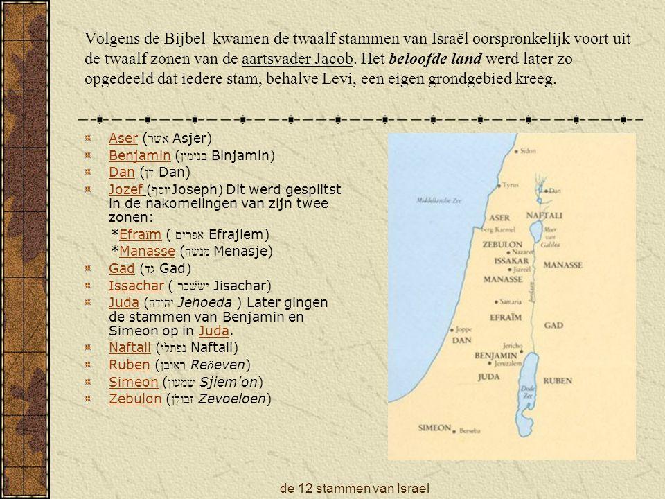 Volgens de Bijbel kwamen de twaalf stammen van Israël oorspronkelijk voort uit de twaalf zonen van de aartsvader Jacob. Het beloofde land werd later zo opgedeeld dat iedere stam, behalve Levi, een eigen grondgebied kreeg.