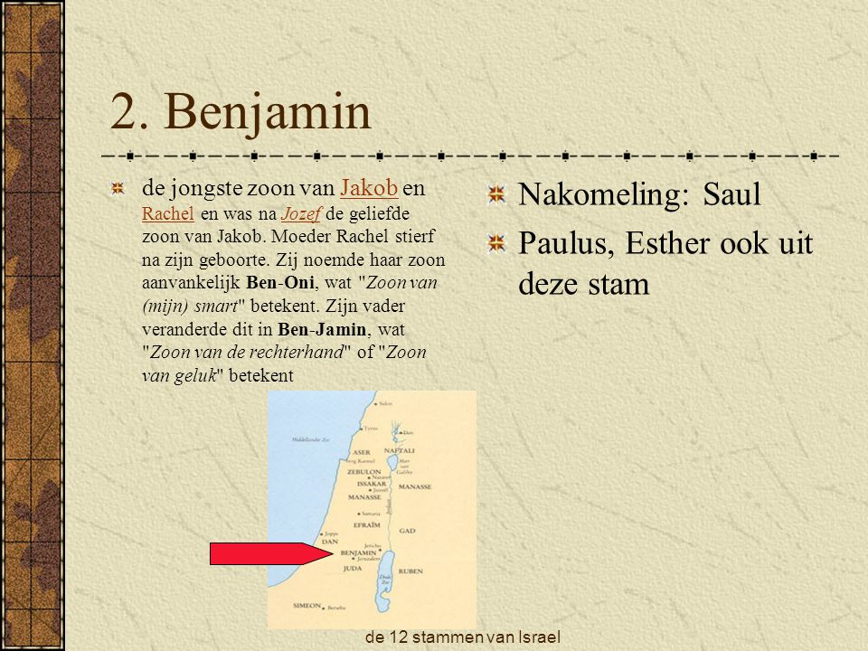 2. Benjamin Nakomeling: Saul Paulus, Esther ook uit deze stam