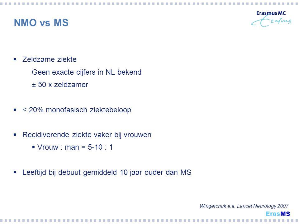 NMO vs MS Zeldzame ziekte Geen exacte cijfers in NL bekend