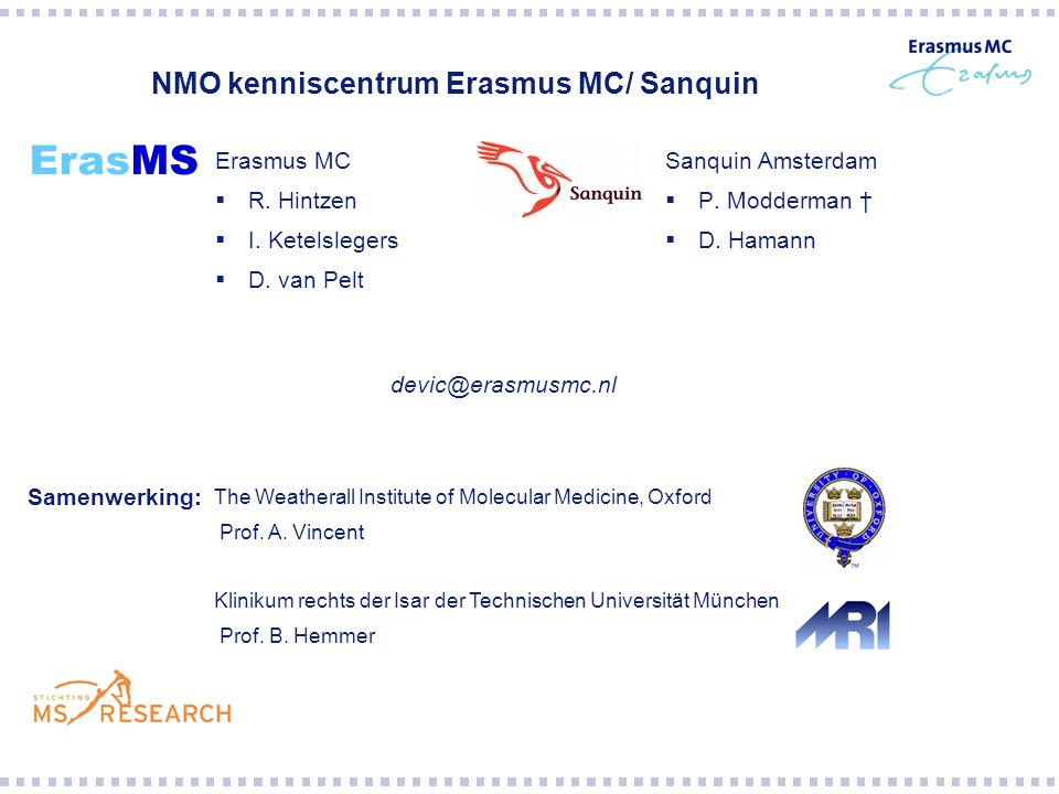 NMO kenniscentrum Erasmus MC/ Sanquin
